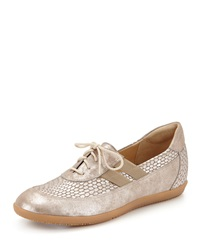 Helen Metallic Leather Lace Up Sneaker Taupe Sesto Meucci