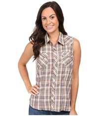 Roper 0378 Earth Plaid Brown Women's Sleeveless