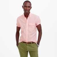 J.Crew Slim Short Sleeve Shirt In Striped Cotton Linen