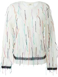 Ports 1961 Rainbow Fringed Jumper White