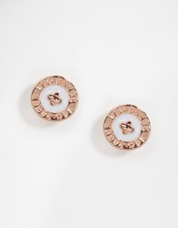 Ted Baker Baby Blue Enamel Logo Button Stud Earrings Gold