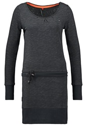 Ragwear Alexa Jersey Dress Black Mottled Dark Grey
