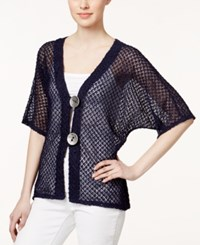 Jm Collection Short Sleeve Open Knit Cardigan Only At Macy's Intrepid Blue