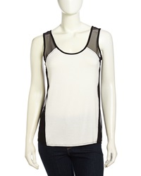 Romeo And Juliet Couture Pullover Mesh Jersey Contrast Tank White Black