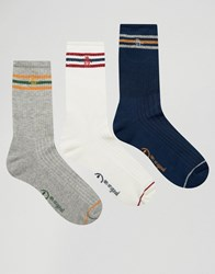 Original Penguin 3 Pack Retro Sport Style Socks Grey