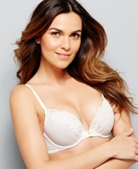 Maidenform Comfort Devotion Embellished Plunge Push Up Bra 9443 Ivory Gloss
