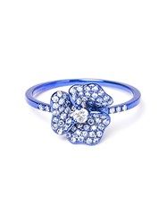 As29 Diamond Flower Ring Blue