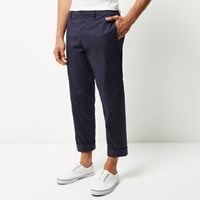 River Island Mens Blue Wide Leg Chino Trousers