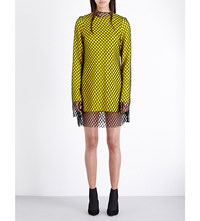 Marques Almeida Mesh Overlay Wool Crepe Dress Yellow With Black