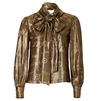 Supersweet X Moumi Glitter Gold Bow Blouse