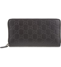 Gucci Leather Gg Long Wallet Black