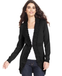 Style And Co. Petite Sweater Long Sleeve Ruffle Trim Cardigan
