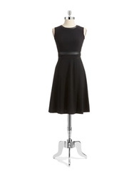 Anne Klein Faux Leather Trim Dress