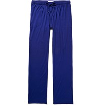 Derek Rose Basel Stretch Micro Modal Jersey Lounge Trousers Blue