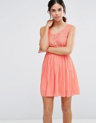 Pussycat London Dress With Lace Top And Pleated Skirt Peach Pink
