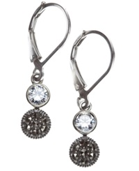 Judith Jack Earrings Marcasite And Crystal Double Drop