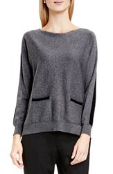 Vince Camuto Women's Colorblock Boatneck Cotton Blend Sweater Medium Heather Grey