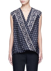 3.1 Phillip Lim Scarf Print Surplice Front Sleeveless Silk Top Blue
