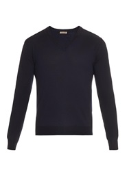 Bottega Veneta V Neck Navy Merino Wool Sweater