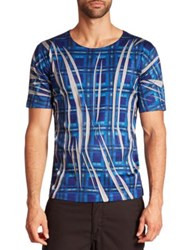 Issey Miyake Pleated Checked T Shirt Blue
