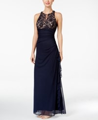 Betsy And Adam B A By Lace Accent Halter Gown Navy