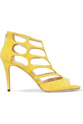 Jimmy Choo Ren Cutout Suede Sandals Yellow
