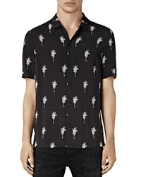 Allsaints Archo Palm Short Sleeve Slim Fit Button Down Shirt Black