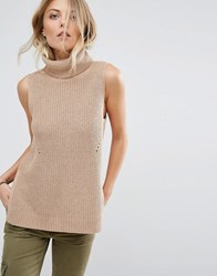 Abercrombie And Fitch Sleeveless Roll Neck Knit Top Brown