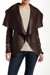 Dolce Cabo Pleather Draped Collar Striped Jacket Brown