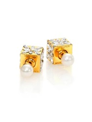 Vita Fede Double Cubo 5Mm White Akoya Pearl And Crystal Marquis Two Sided Earrings Gold