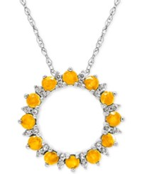 Macy's Citrine 7 8 Ct. T.W. And White Topaz 1 5 Ct. T.W. Circle Pendant Necklace In Sterling Silver