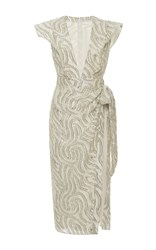 Ungaro Emanuel V Neck Wrap Midi Dress Silver