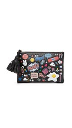 Anya Hindmarch Georgiana Clutch With Allover Stickers Black