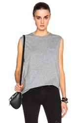 T By Alexander Wang Welded Cotton Jersey Pocket Muscle Tee In Gray