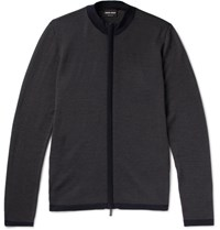 Giorgio Armani Virgin Wool Zip Up Cardigan Gray