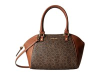 Calvin Klein Hudson Monogram Satchel Brown Khaki Luggage Blocked Satchel Handbags