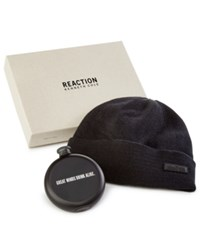 Kenneth Cole Reaction Men's Flask And Beanie Gift Set Black