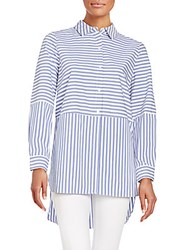 Vince Camuto Striped Button Front Shirt Blue