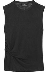 By Malene Birger Anonna Gathered Stretch Linen Tank Black
