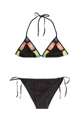 Missoni Mare Triangle Bikini With Crochet Black