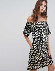 Helene Berman Off Shoulder Dress Black Gold