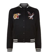 Denim And Supply Ralph Lauren Embroidered Varsity Bomber Jacket Female Black