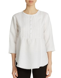 Context Three Quarter Sleeve Button Down Tunic Bleach White