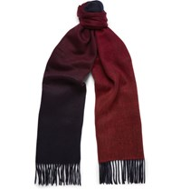 Paul Smith Double Faced Lambswool And Cashmere Blend Scarf Burgundy