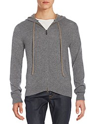 Saks Fifth Avenue Regular Fit Cashmere Hoodie Medium Grey