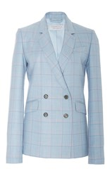 Gabriela Hearst Themis Double Breasted Blazer Light Blue