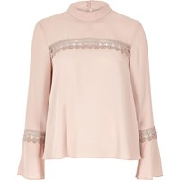 River Island Womens Blush Pink Bell Sleeve Top With Lace Detail