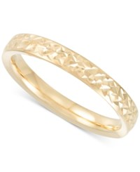 Macy's Thin Textured Band In 14K Gold Yellow Gold