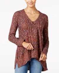 American Rag Lace Up High Low Sweater Only At Macy's Zinfandel Multi