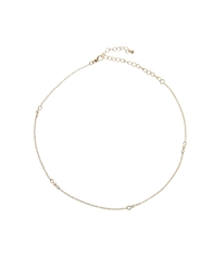 Asos Fine Faux Pearl Dash Choker Necklace Cream